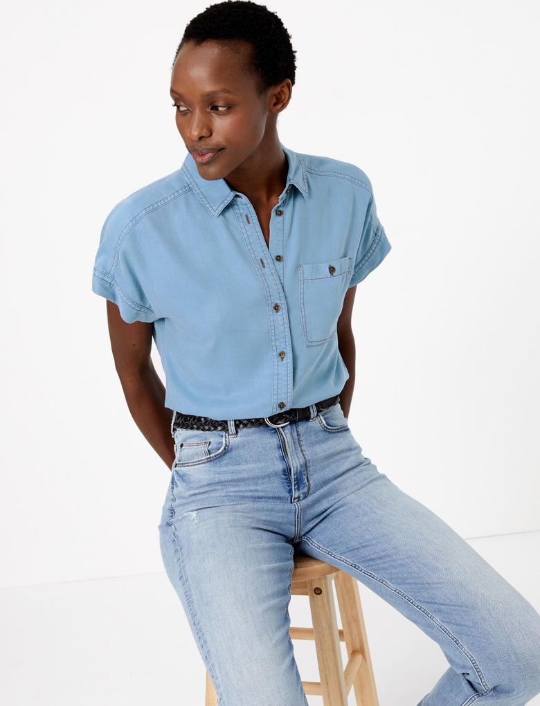 Kadın Mavi Kısa Kollu Tencel Gömlek