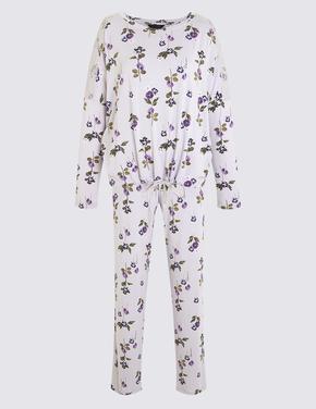 Mor Uzun Kollu Pijama Takımı