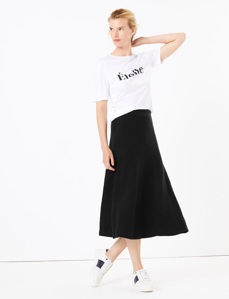 Kadın Siyah Fit & Flare Triko Etek