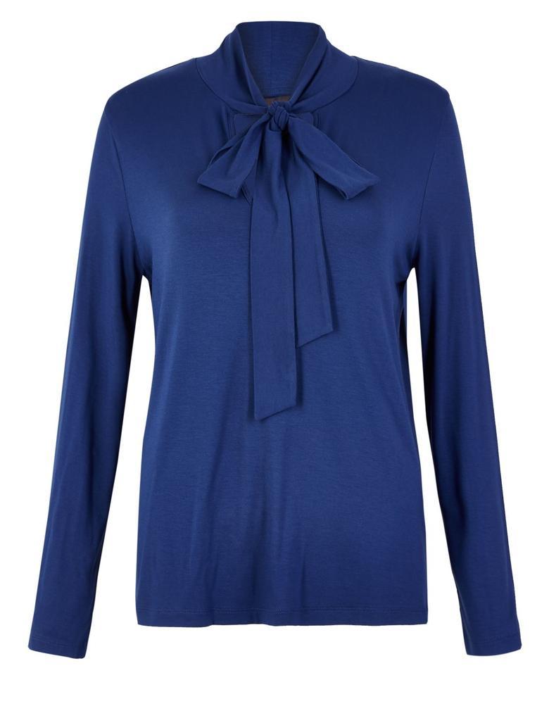 Mavi Fiyonk Detaylı Bluz