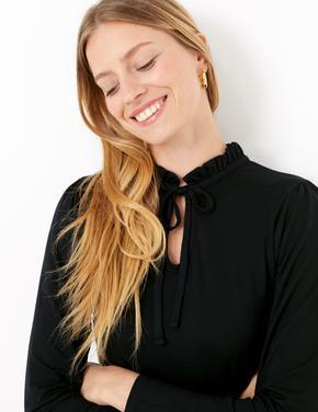Kadın Siyah Boyundan Bağlamalı Uzun Kollu Bluz