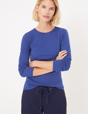Kadın Mavi Saf Pamuk Regular Fit T-Shirt