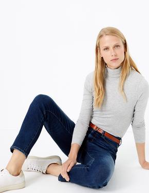 Kadın Gri Boğazlı Yaka Uzun Kollu T-Shirt