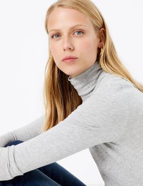 Boğazlı Yaka Uzun Kollu T-Shirt