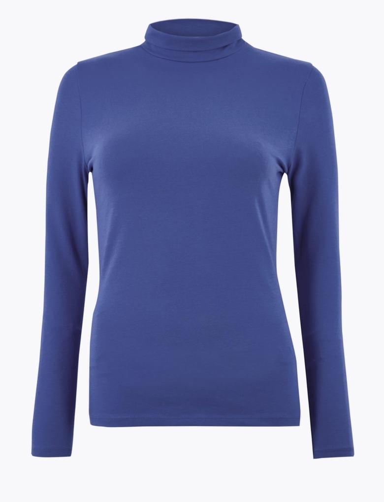 Kadın Mavi Boğazlı Yaka Uzun Kollu T-Shirt