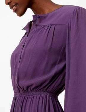 Beli Lastikli Düğme Detaylı Midi Elbise