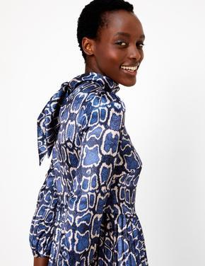 Yılan Derisi Desenli Saten Midi Elbise