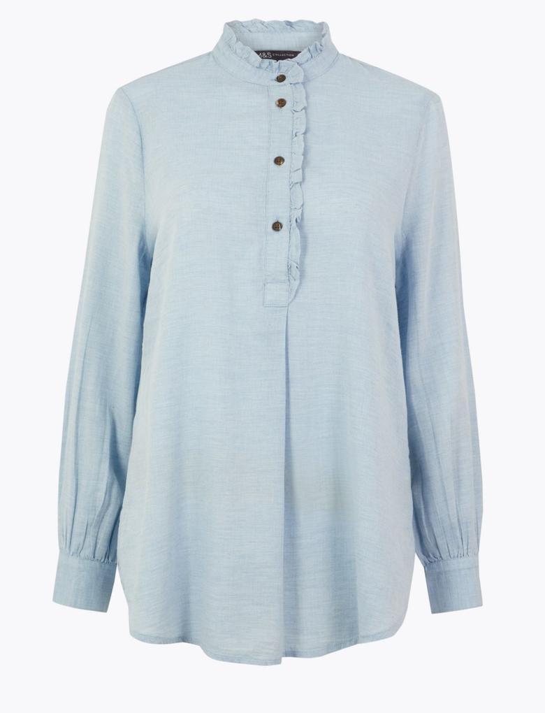 Fırfır Detaylı Uzun Bluz
