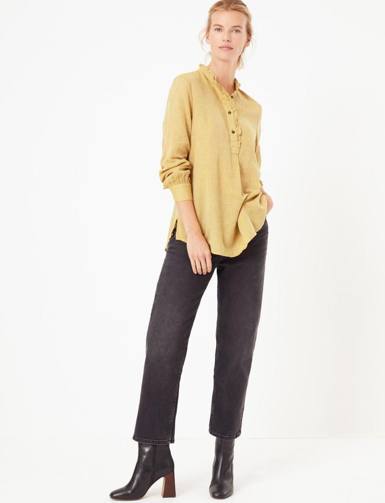 Kadın Sarı Fırfır Detaylı Uzun Bluz