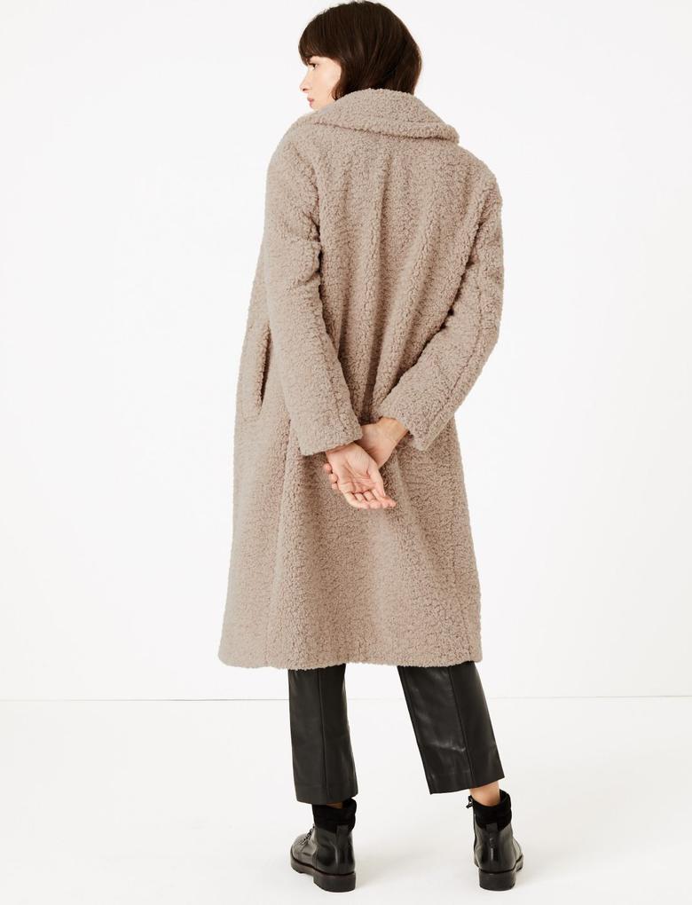 Kadın Kahverengi Suni Kürk Uzun Kaban