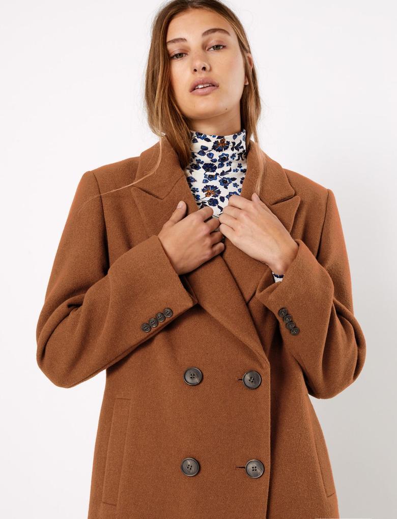 Kadın Turuncu Yün Karışımlı Kruvaze Palto
