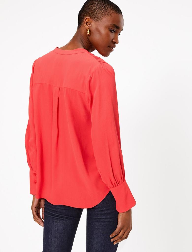 Kırmızı Uzun Kollu Bluz