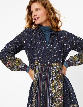Lacivert Çiçek Desenli Midi Gömlek Elbise