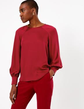 Kadın Kırmızı Saten Relaxed Fit Bluz