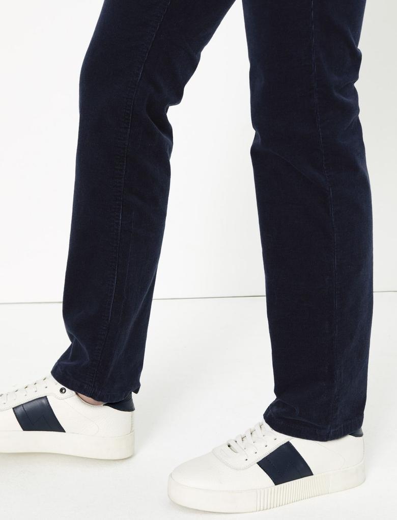 Kadın Lacivert Kadife Straight Leg Pantolon
