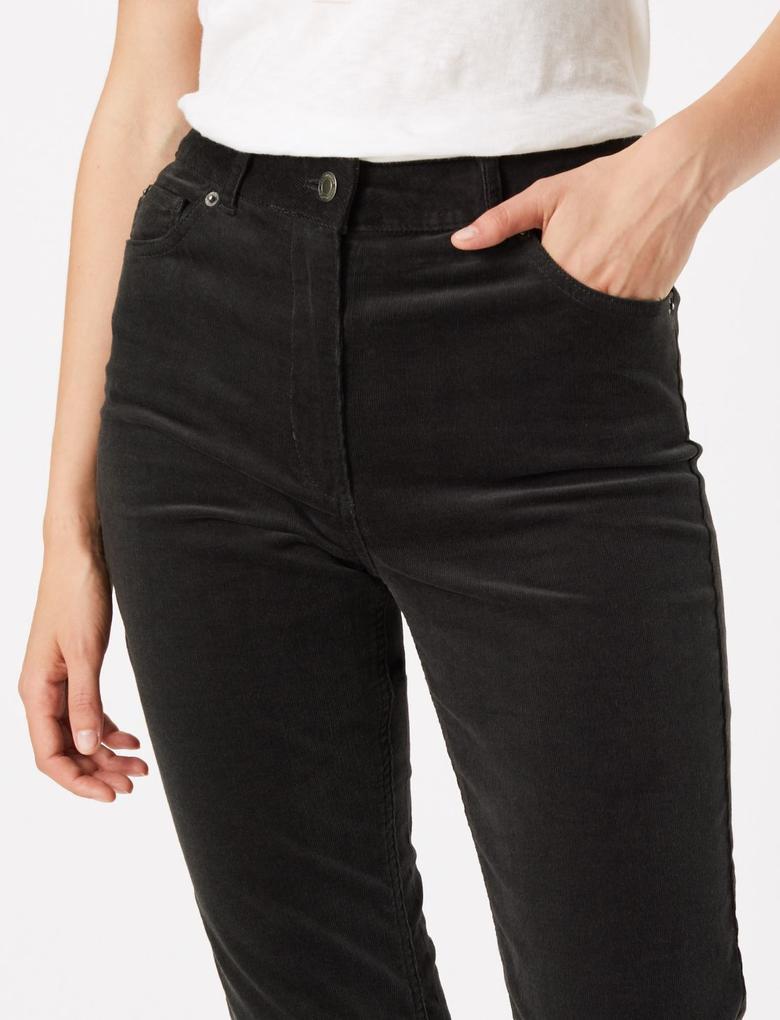 Kadın Gri Kadife Straight Leg Pantolon