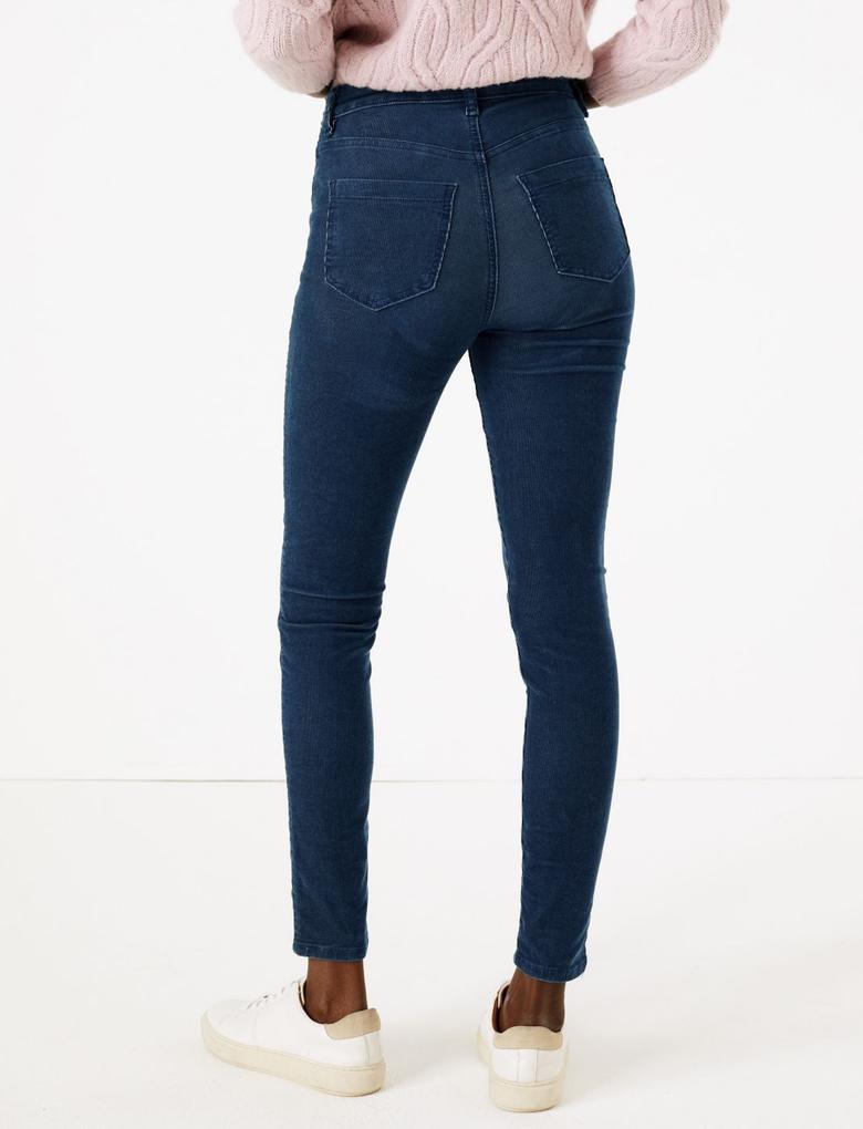 Kadın Lacivert Kadife Skinny Pantolon