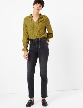 Kadın Gri Yüksek Belli Straight Fit Jean Pantolon