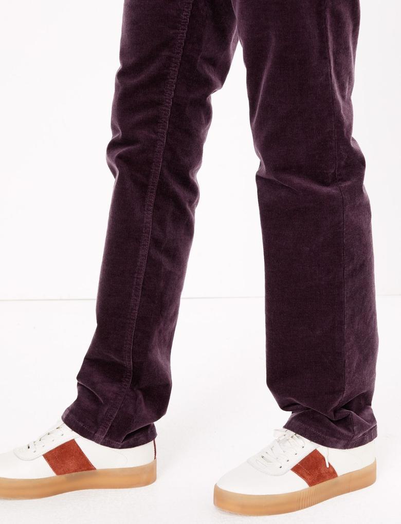 Kadın Mor Kadife Straight Leg Pantolon