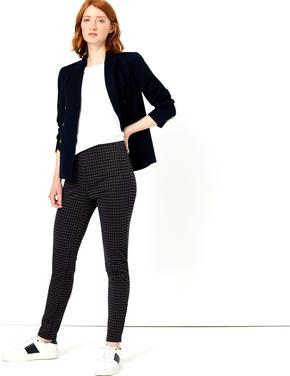 Kaz Ayağı Desenli Skinny Pantolon