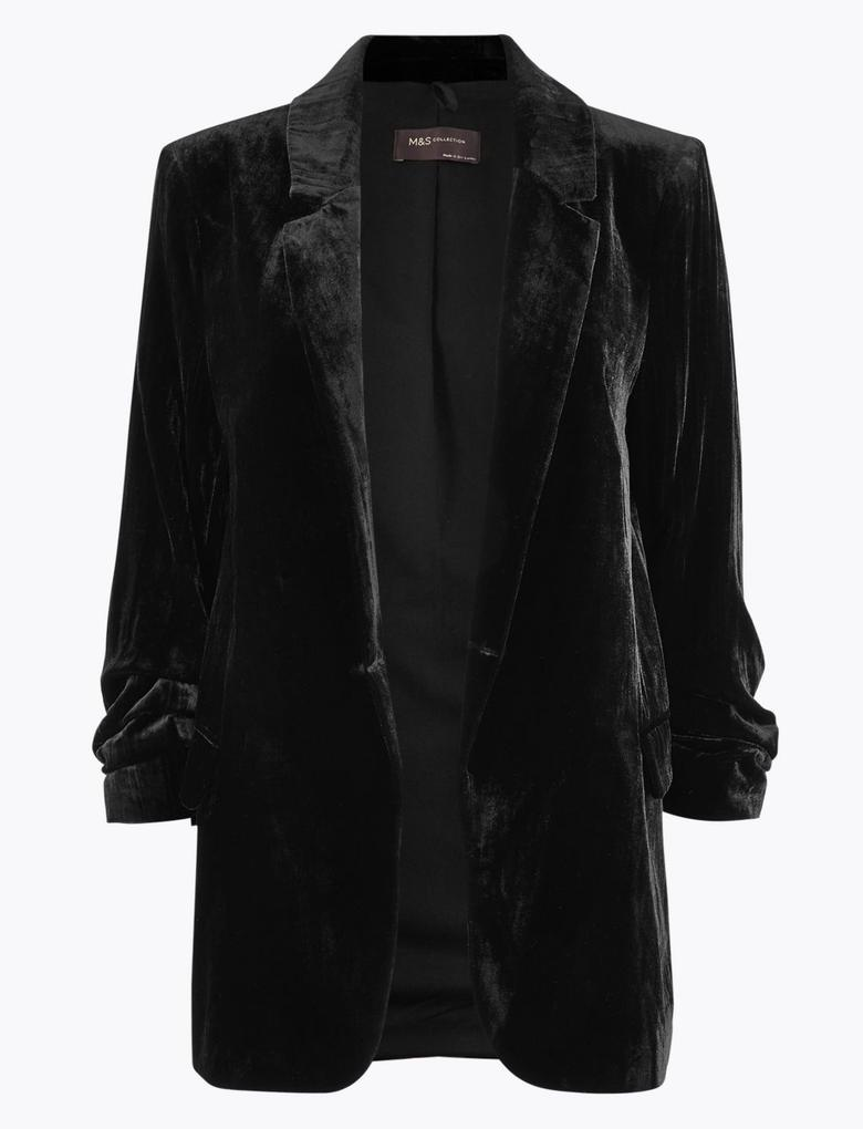 Kadın Siyah Kadife Blazer Ceket