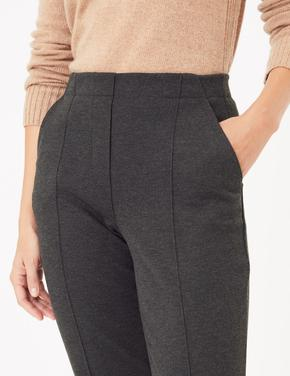 Kadın Gri Straight Leg Ankle Pantolon