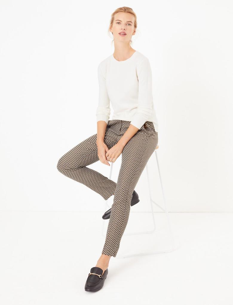 Kadın Sarı Jakarlı Slim Ankle Pantolon