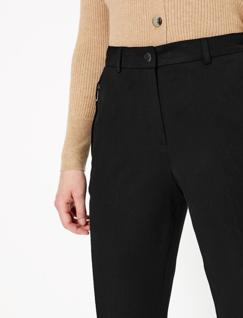 Kadın Siyah Straight Leg Fermuarlı Cep Detaylı Pantolon