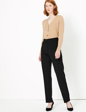 Siyah Straight Leg Fermuarlı Cep Detaylı Pantolon