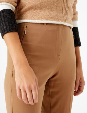 Straight Leg Fermuarlı Cep Detaylı Pantolon