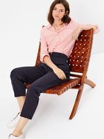 Kadın Lacivert Straight Leg Fermuarlı Cep Detaylı Pantolon
