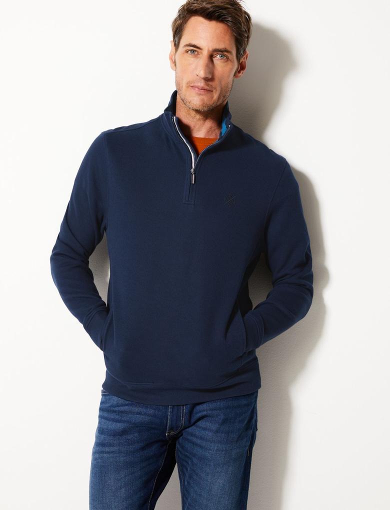 Lacivert Dik Yakalı Yarım Fermuarlı Sweatshirt