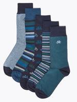Erkek Lacivert 5'li Cool & Fresh™ Bisiklet Desenli Çorap Seti