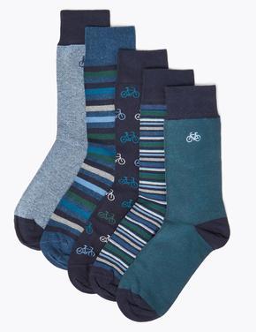 5'li Cool & Fresh™ Bisiklet Desenli Çorap Seti