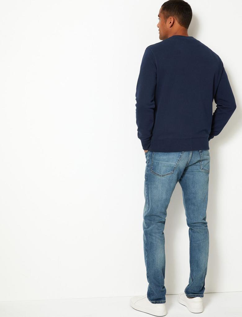 Erkek Lacivert Yuvarlak Yakalı Sweatshirt