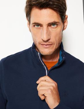 Dik Yakalı Yarım Fermuarlı Sweatshirt