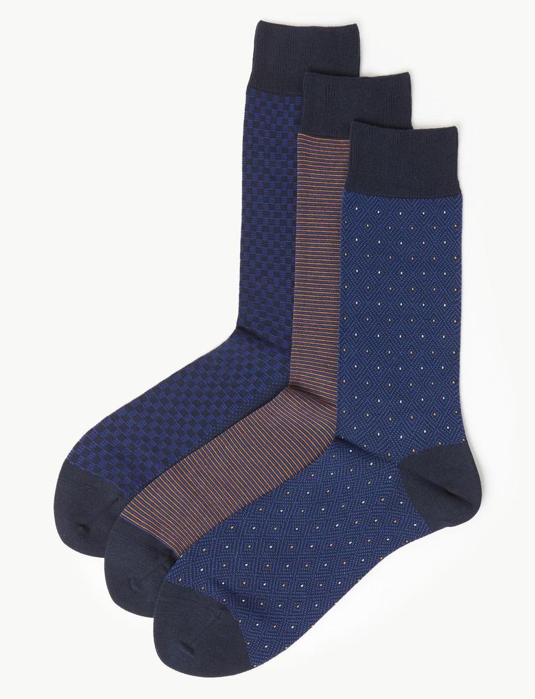 Erkek Mavi 3'lü Mısır Pamuğu Çorap Seti