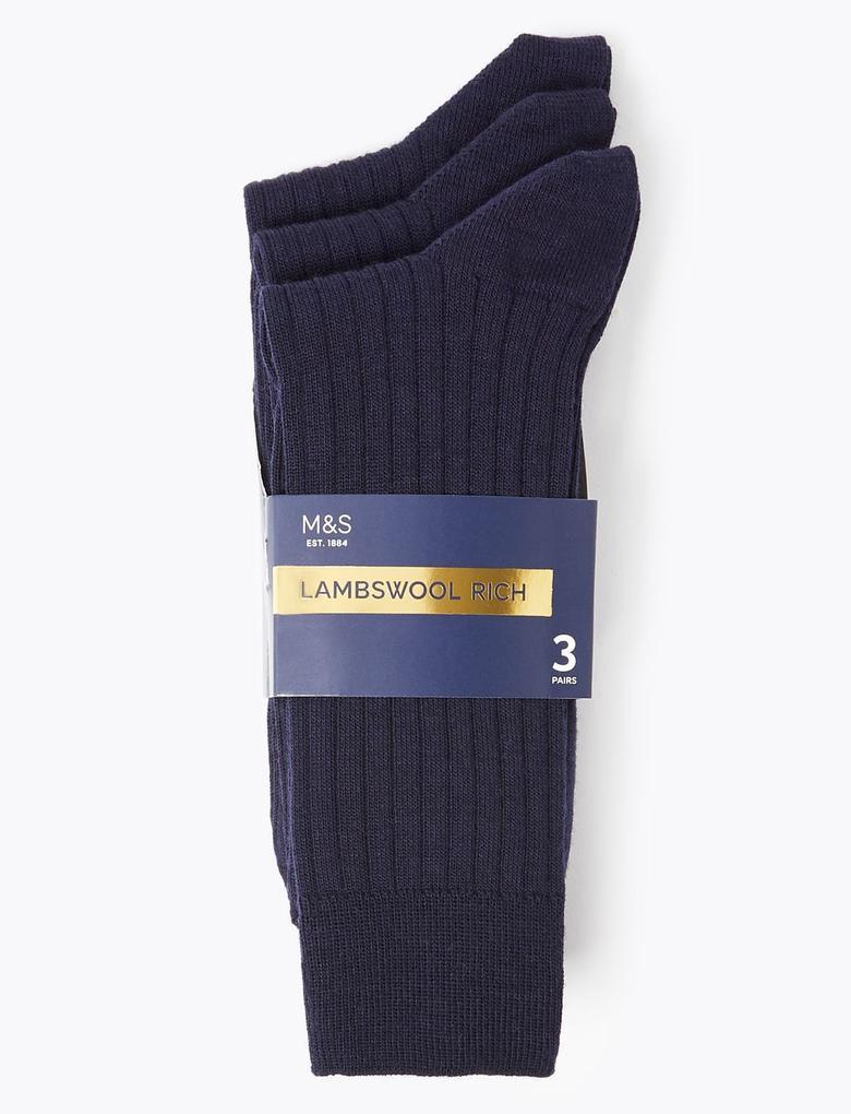 Erkek Lacivert 3'lü Yün Çorap Seti