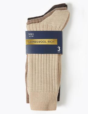 Erkek Kahverengi 3'lü Yünlü Çorap Seti