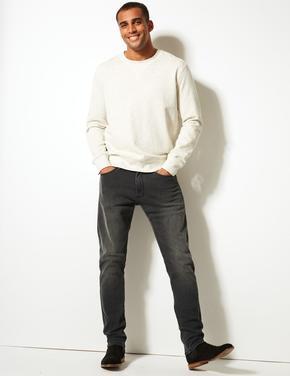Erkek Gri Slim Fit Streç Jean Pantolon