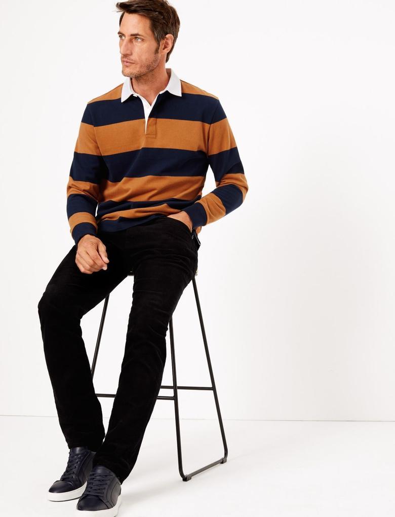 Erkek Kahverengi Çizgili Polo Yaka T-Shirt