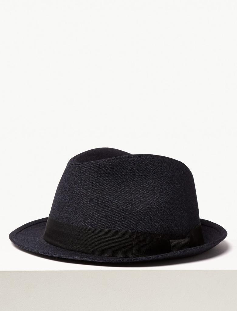 Erkek Lacivert Özel Dokulu Şapka