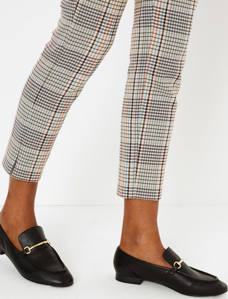 Kadın Bej Ekose Slim Pantolon