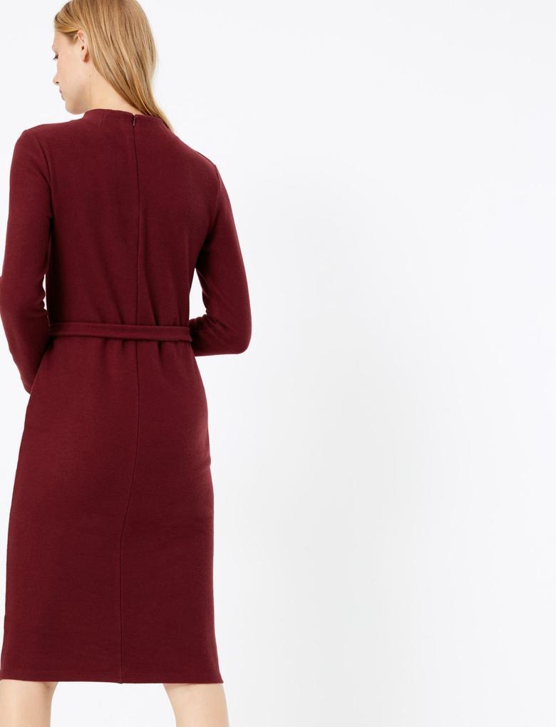 Kadın Mor Kuşaklı Midi Elbise