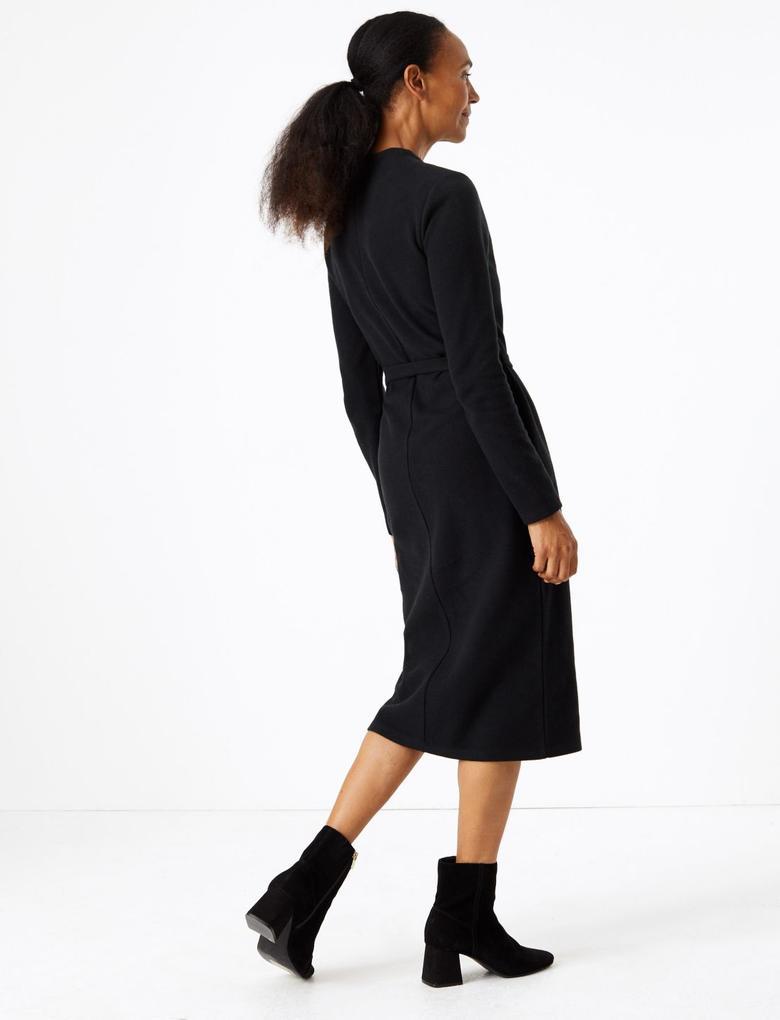 Kadın Siyah Kuşaklı Midi Elbise
