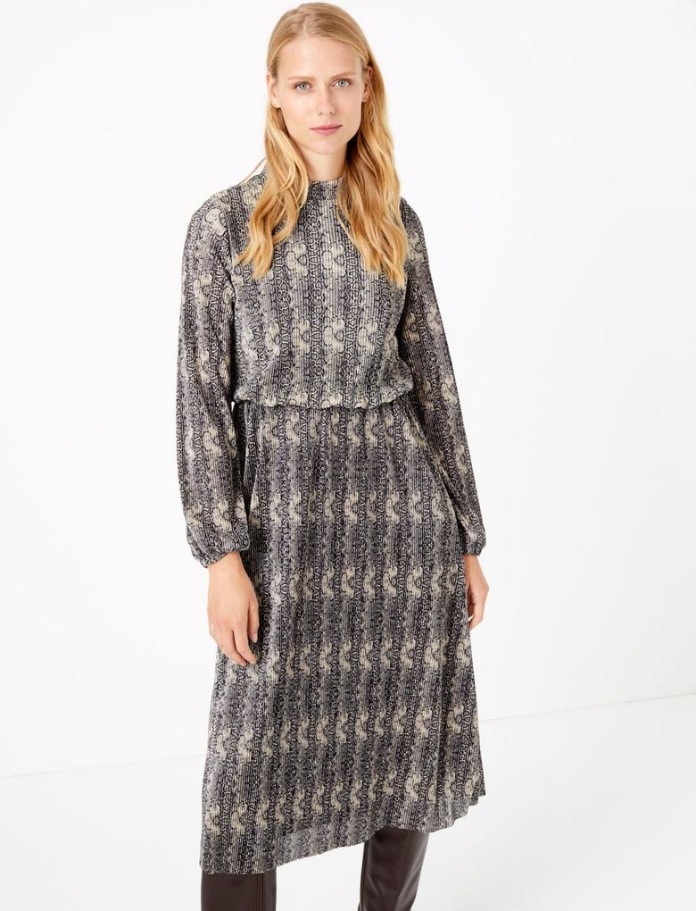 Kadın Multi Renk Yılan Derisi Desenli Plise Elbise