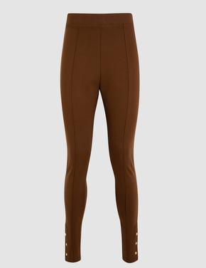 Kadın Kahverengi Puantiye Desenli Tayt