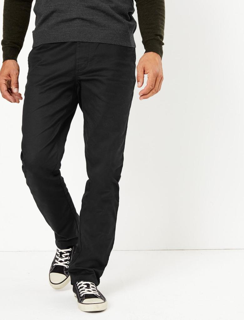 Erkek Siyah Blue Harbour Premium Regular Fit Chino Pantolon