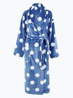 Kadın Mavi Puantiyeli Polar Sabahlık