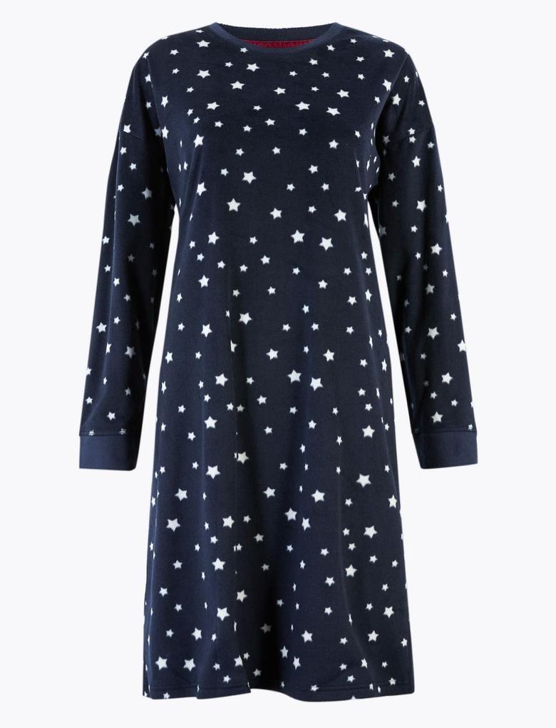 Kadın Lacivert Yıldız Desenli Polar Kısa Gecelik